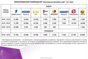 Сколько стоит реклама на Первом канале в рублях